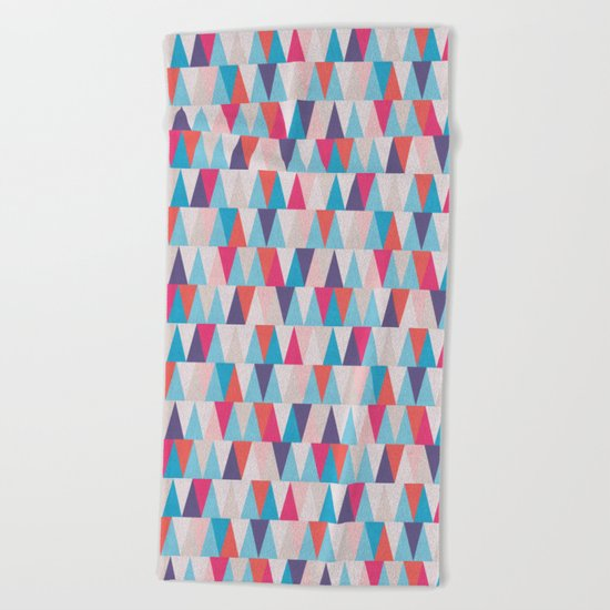 Blue & Pink Geometric Triangle Pattern Beach Towel