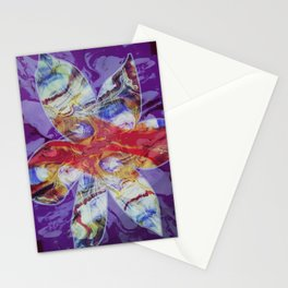 Bright Abstract Flower; Purple, Lavender and Maroon Background; Fluid Abstract 55 Stationery Cards