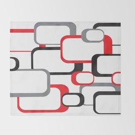 Red Black Gray Retro Square Pattern White Throw Blanket