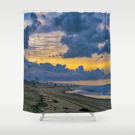 Seagull Sunrise at Huntington Beach Shower Curtain