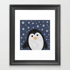 Christmas Penguin Marble Framed Art Print