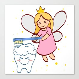 Tooth Fairy Brushing A Cute White Teeth Great Gift For Dentists Doctors, Dental Technician T-shirt Canvas Print