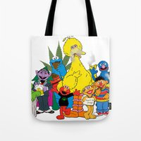 sesame street Tote Bags featuring Sesame Street Stoners by Instrum