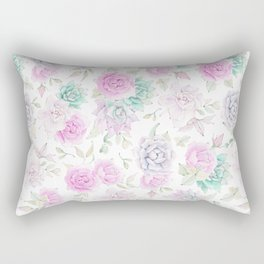 Pastel pink turquoise watercolor hand painted cactus floral Rectangular Pillow