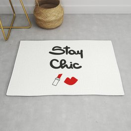 cute hand drawn lettering stay chic quote with red lips and lipstick Rug