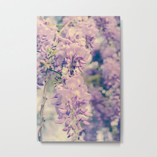 No. 7 Wisteria Lane -- Spring Botanical -- Purple Showers of Flowers Metal Print