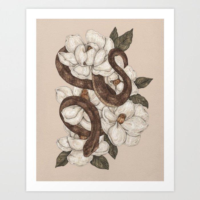 Snake and Magnolias Kunstdrucke