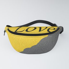 Gray and Yellow Love Fanny Pack