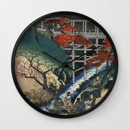 Hiroshige People under maple trees by a stream Wall Clock
