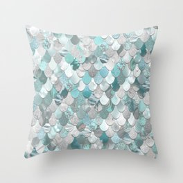 Mermaid Aqua and Grey Throw Pillow