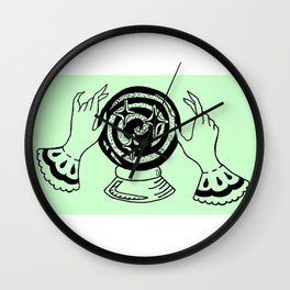 Fortune Teller Hands Over Crystal Ball Design — Witchy Hands Over Orbuculum Illustration Wall Clock