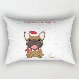 French Bulldog Waiting for Santa - Fawn edition Rectangular Pillow