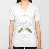 nietzsche V-neck T-shirts featuring That which does not kill us makes us stronger by Beardy Graphics