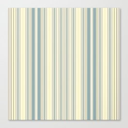 Seafoam Green Yellow Stripes Canvas Print