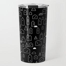 LITTLE HOUSES ((white on black)) Travel Mug