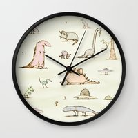 dinosaurs Wall Clocks featuring Dinosaurs by Sophie Corrigan