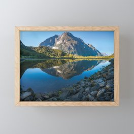 Mountain Reflection in the Bay at Milford Sound Framed Mini Art Print