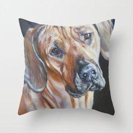 Rhodesian Ridgeback dog art portrait from an original painting by L.A.Shepard Throw Pillow