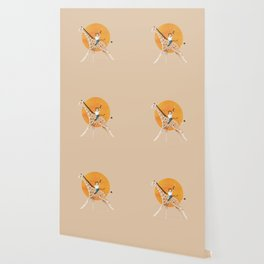 Giraffe and Monkey Illustration  Wallpaper