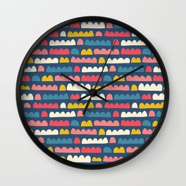 Blue Pink White Yellow Doodle Shapes Wall Clock