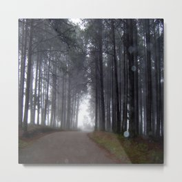 Misty forest road with orbs Metal Print
