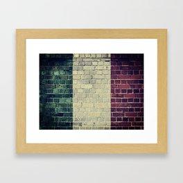 Vintage Italy flag on a brick wall Framed Art Print