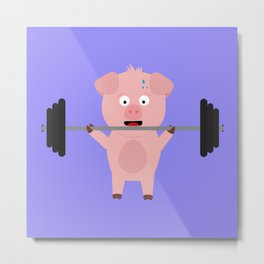 Fitness Pig with Weights Bjzsl Metal Print