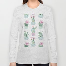 Simply Echeveria Cactus in Pastel Cactus Green and Pink Long Sleeve T-shirt