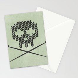 Knitted Skull / Knitting with Attitude (Black on Greenish Grey) Stationery Cards