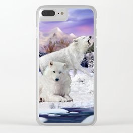 Snow Wolves of the Wilderness Clear iPhone Case