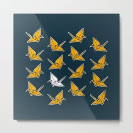 PAPER CRANES NAVY AND YELLOW Metal Print