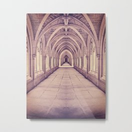 Vintage Church Corridor Metal Print