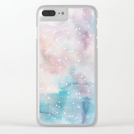 Elegant pastel pink aqua watercolor white snow polka dots Clear iPhone Case