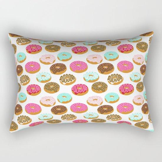 Donuts art print junk food pattern design kids minimal modern kitchen baking breakfast hipster baker Rectangular Pillow