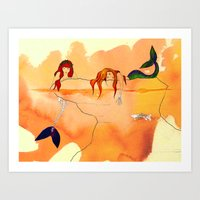 mermaids Art Prints featuring Mermaids by Leah Gonzales