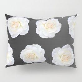 Cream Rose Polka Dot on Black Pillow Sham