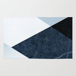 Geometrics II - blue marble & silver Rug