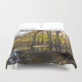 Autumn Forest with Water Puddles Duvet Cover