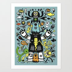 Guru Cat (blue time) Art Print