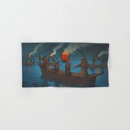 Beautiful Vintage Japanese Woodblock Print Japanese Fisherman Flame Torch Hand & Bath Towel