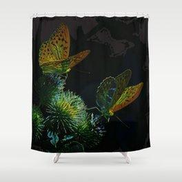 Orange Butterflies II Shower Curtain