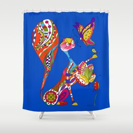Cat and two butterflies Shower Curtain