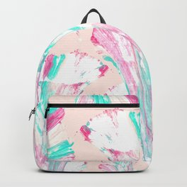 Girly Artsy Pink Teal Acrylic Abstract Flower Art Backpack
