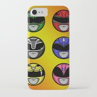 power ranger iPhone & iPod Cases featuring Mighty Morphin Power Ranger Headz by Omnibit Designs