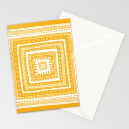 bright orange patterned square Stationery Cards