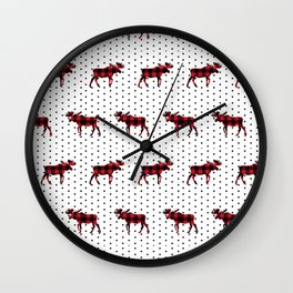 Moose Buffalo Plaid dots cute outdoors camping cabin chalet skiing northwest forest Wall Clock