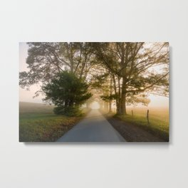 Daylight and Mist - Road with Warm Light in Great Smoky Mountains Metal Print
