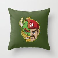 mario kart Throw Pillows featuring Mario Chimera by The Cracked Dispensary