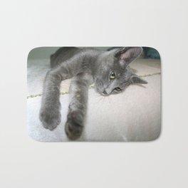 Russian Grey Cross Tabby Cat  Bath Mat