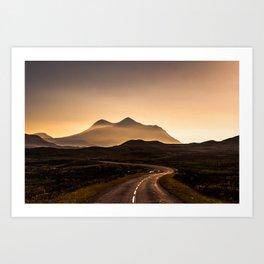 Sunset Mountain Road Art Print
